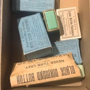 Box of vintage sewing notions lot bundle buttons